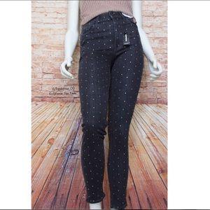 Express   Blk Wash Rhinestone Jeweled Skinny Jeans